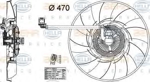 Вентилятор, охлаждение двигателя HELLA 8MV376734461