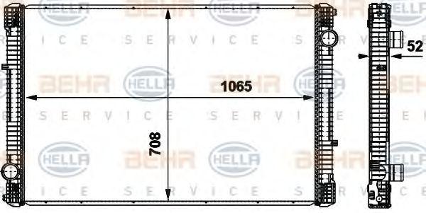 Радиатор, охлаждение двигателя HELLA 8MK376737071