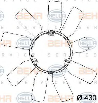 Крыльчатка вентилятора, охлаждение двигателя HELLA 8MV376741181