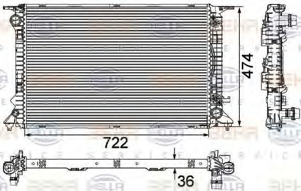 Радиатор охлаждения HELLA 8MK376745654