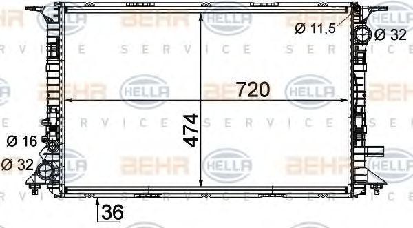 Радиатор охлаждения HELLA 8MK376756681