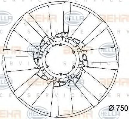 Крыльчатка вентилятора охлаждения двигателя HELLA 8MV 376 757-101