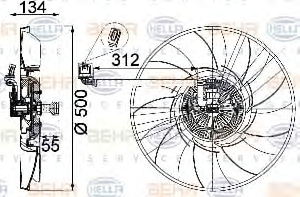Вентилятор, охлаждение двигателя HELLA 8MV376757301