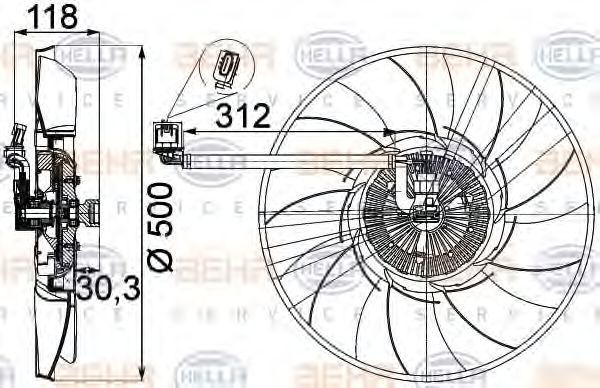 Вентилятор охлаждения двигателя HELLA 8MV 376 757-311