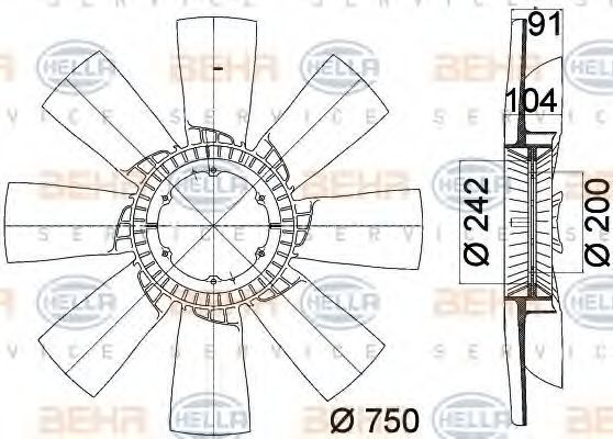 Крыльчатка вентилятора, охлаждение двигателя HELLA 8MV376758231