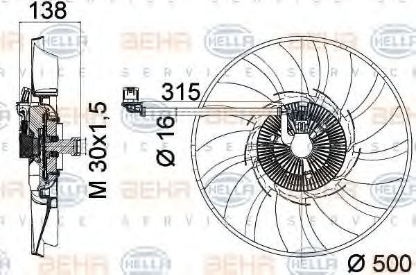 Вентилятор охлаждения двигателя HELLA 8MV 376 758-241