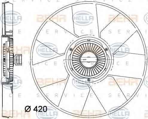 Вентилятор, охлаждение двигателя HELLA 8MV376758261