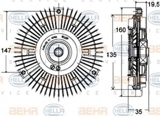 Сцепление, вентилятор радиатора HELLA 8MV376758441