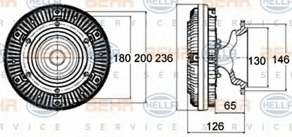 Сцепление, вентилятор радиатора HELLA 8MV376758461