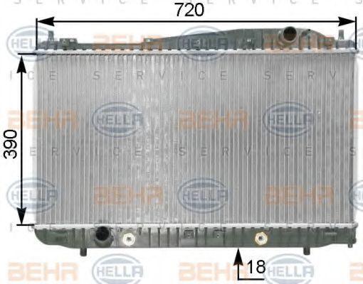Радиатор, охлаждение двигателя HELLA 8MK376763251