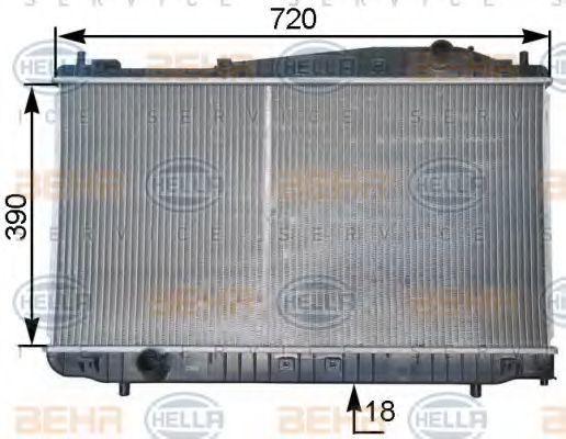 Радиатор, охлаждение двигателя HELLA 8MK376763261