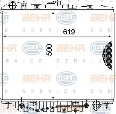 Радиатор, охлаждение двигателя HELLA 8MK376771101