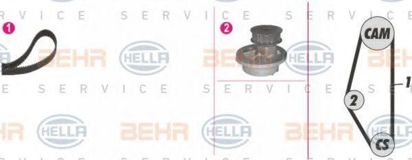 Водяной насос + комплект зубчатого ремня HELLA 8MP376804881