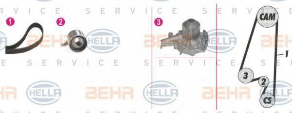 Водяной насос + комплект зубчатого ремня HELLA 8MP376808811