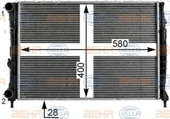 Радиатор, охлаждение двигателя HELLA 8MK376900001