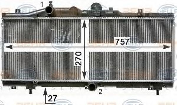 Радиатор, охлаждение двигателя HELLA 8MK376900051