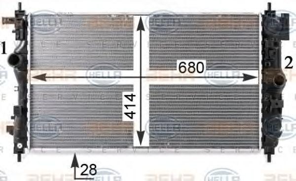 Радиатор, охлаждение двигателя HELLA 8MK376910231