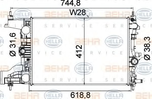 Радиатор, охлаждение двигателя HELLA 8MK376910241