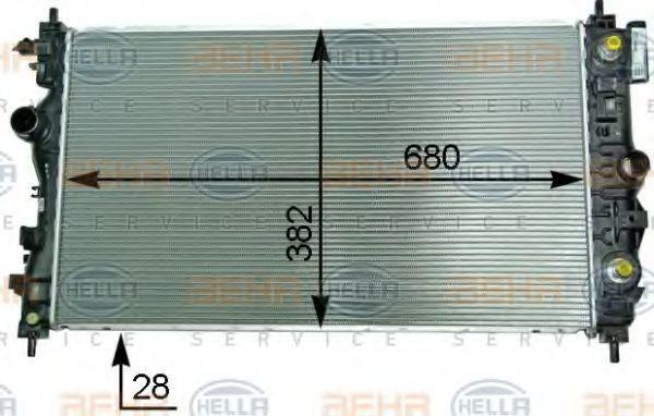 Радиатор, охлаждение двигателя HELLA 8MK376910251