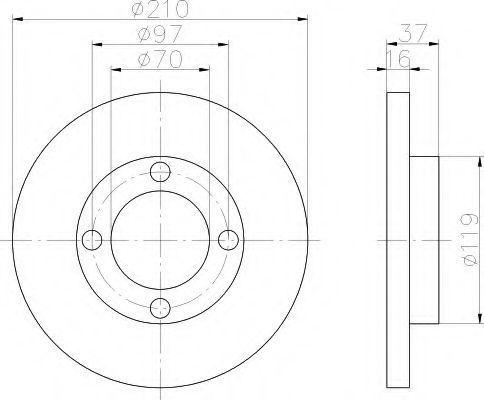Тормозной диск HELLA 8DD355108491