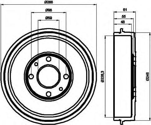 Тормозной барабан HELLA 8DT355300071