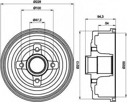 Тормозной барабан HELLA 8DT355300411
