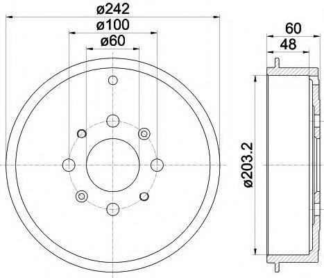 Тормозной барабан HELLA 8DT355300681