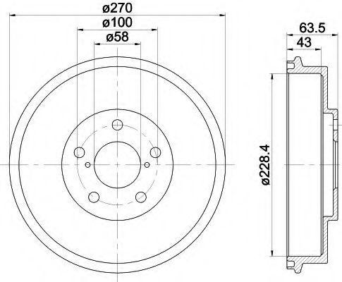 Тормозной барабан HELLA 8DT355300911