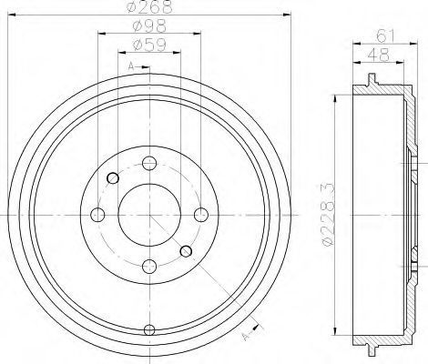 Тормозной барабан HELLA 8DT355301091