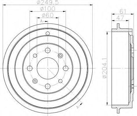 Тормозной барабан HELLA 8DT355301101