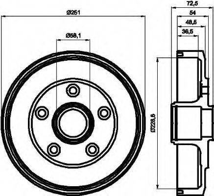 Тормозной барабан HELLA 8DT355301301