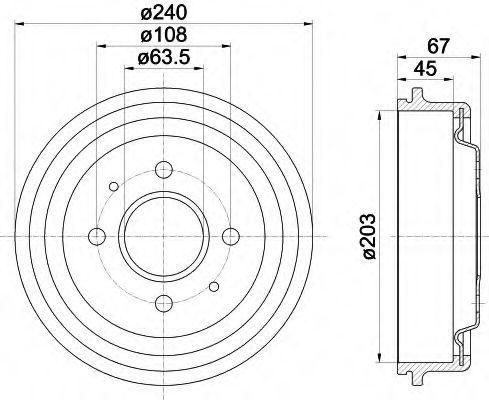 Тормозной барабан HELLA 8DT355301371