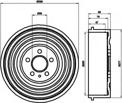 Тормозной барабан HELLA 8DT355301591