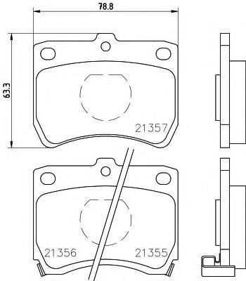 Комплект тормозных колодок, дисковый тормоз HELLA 8DB355005741