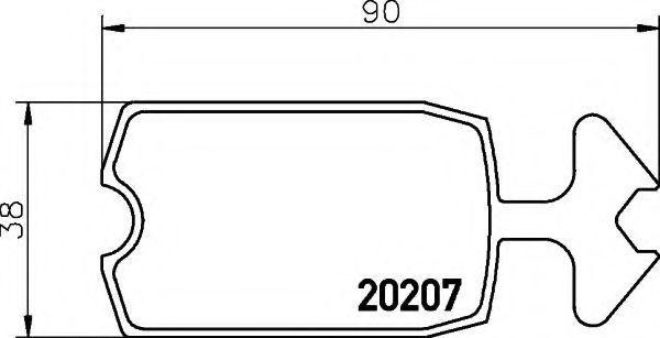 Комплект тормозных колодок, дисковый тормоз HELLA 8DB355005881