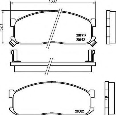 Комплект тормозных колодок, дисковый тормоз HELLA 8DB355006211