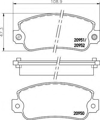 Комплект тормозных колодок, дисковый тормоз HELLA 8DB355007121