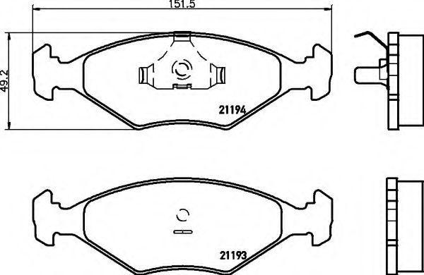 Комплект тормозных колодок, дисковый тормоз HELLA 8DB355007441