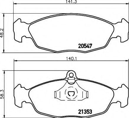Комплект тормозных колодок, дисковый тормоз HELLA 8DB355007531