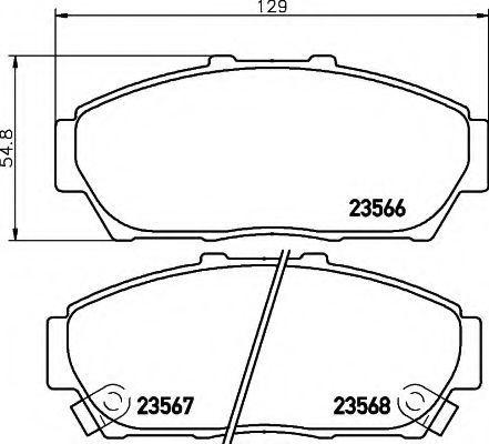Комплект тормозных колодок, дисковый тормоз HELLA 8DB355009981