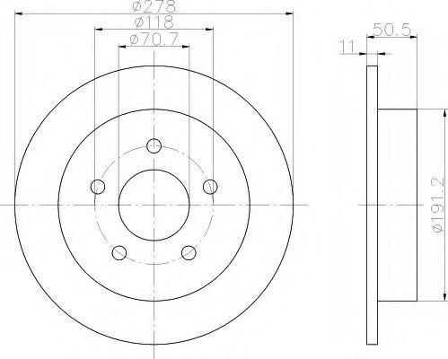 Тормозной диск HELLA 8DD355106961