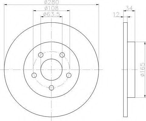 Тормозной диск HELLA 8DD355108061