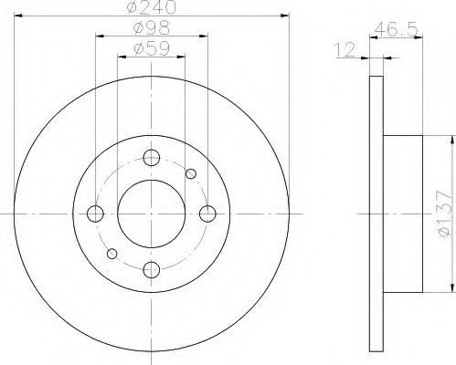 Тормозной диск HELLA 8DD355101131