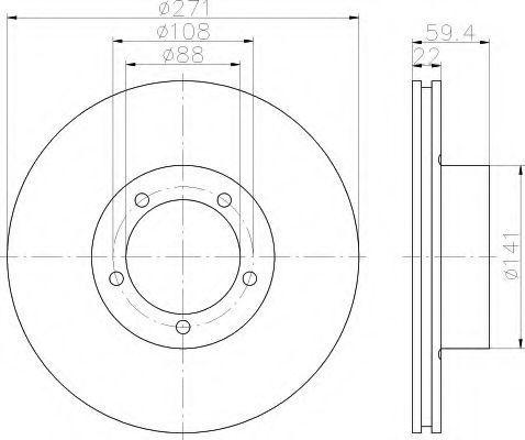 Тормозной диск HELLA 8DD355100001