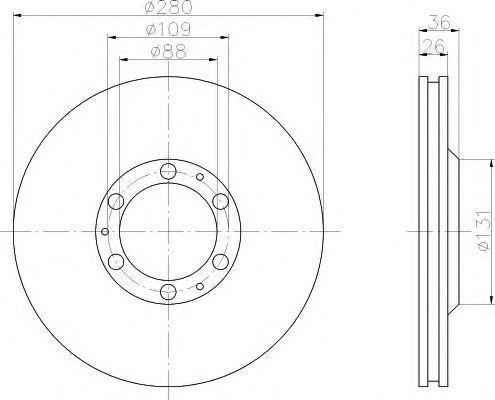 Тормозной диск HELLA 8DD355106001