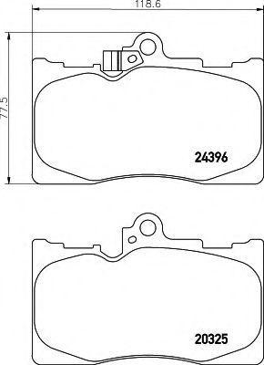 Комплект тормозных колодок, дисковый тормоз HELLA 8DB355012121