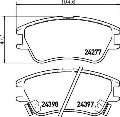 Комплект тормозных колодок, дисковый тормоз HELLA 8DB355006671