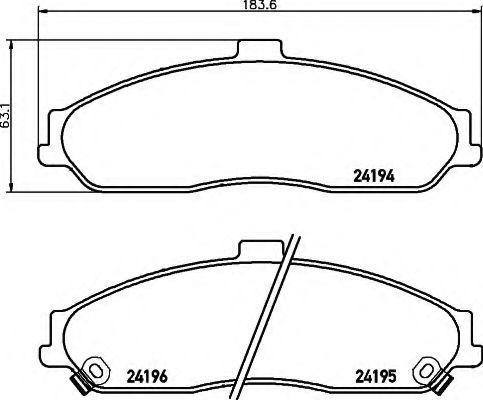 Комплект тормозных колодок, дисковый тормоз HELLA 8DB355012561