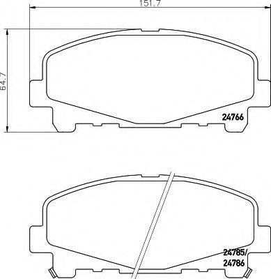 Комплект тормозных колодок, дисковый тормоз HELLA 8DB355013881