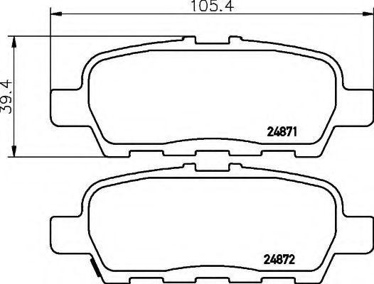 Комплект тормозных колодок, дисковый тормоз HELLA 8DB355014561